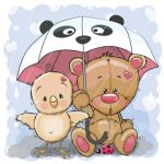 خرس و جوجه زیر بارون