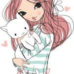 دختر با گربه
