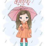دختر زیر باران