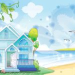 عکس کارتونی خانه و دریا
