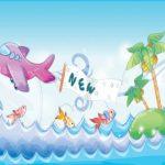 هواپیمای کارتونی و دریا