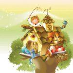 عکس کارتونی کودک و کلبه