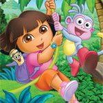 عکس کارتون دورا با میمون در جنگل