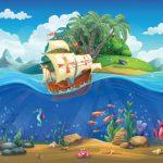 دریا و کشتی و جزیره